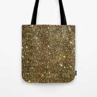 gold glitter Tote Bags featuring Gold Glitter by NatalieBoBatalie