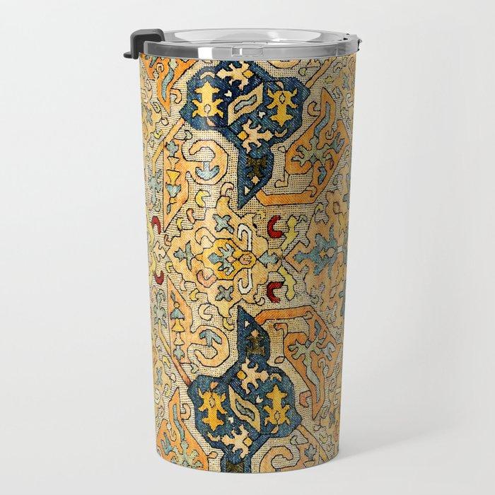 Azerbaijani Southeast Caucasus 18th Century Silk Embroidery Print Travel Mug