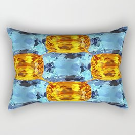 Gemmy Golden Topaz & Aquamarines Birthstone Gems Art Design. Rectangular Pillow