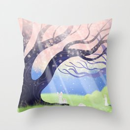 Soft Light On Soft Hares In Aloquil's Glades Throw Pillow