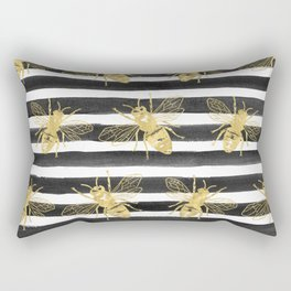 Golden bee noir Rectangular Pillow