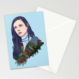 winter girl between pine cones and needles Stationery Cards