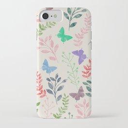 Watercolor flowers & butterflies iPhone Case
