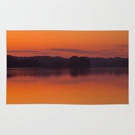 Evening Lakescape Orange Sunset Sky Reflection #decor #society6 #buyart Rug