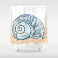 shell Shower Curtains featuring Shell by Pendientera