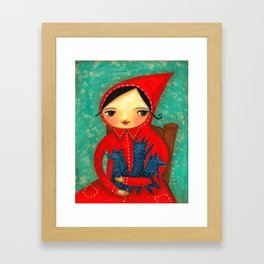 Little Red Riding Hood with pack of baby wolves Framed Art Print
