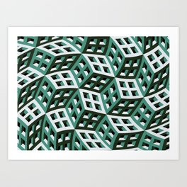 Abstract twisted cubes Art Print