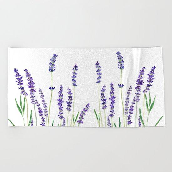 Lavender watercolor flower blue color  Beach Towel