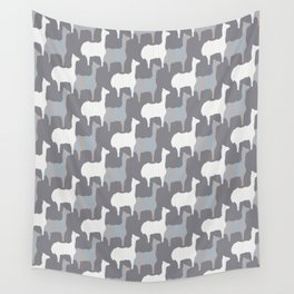 Gray Pink and White Llama Silhouette Seamless Wall Tapestry