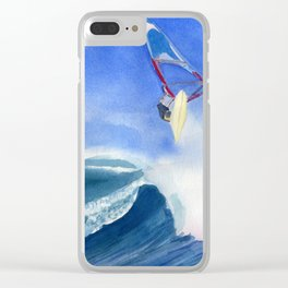 Windsurfer Watercolor Painting Clear iPhone Case