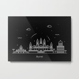 Surat Minimal Nightscape / Skyline Drawing Metal Print