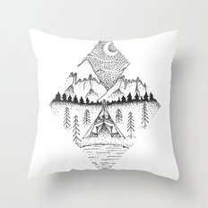 Mountain Camping Throw Pillow