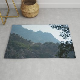 Inside Rock Canyon Hiking the Trail Vista View Mountain Nature Photography Rug