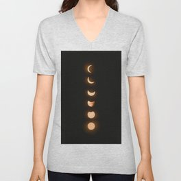 moon phases bright moon crescent moon astronomy night sky solar eclipse magic wicca lunar calendar Unisex V-Neck