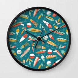 Fishing Lures Blue Wall Clock