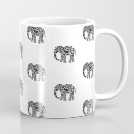 Elephant Flourish in Black Coffee Mug