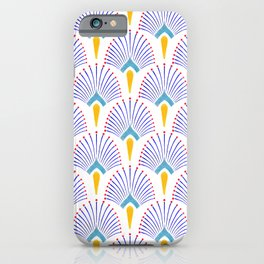 Watercolor Art Deco Pattern, Hand Painted Navy Blue and Yellow, Floral Mosaic. iPhone Case