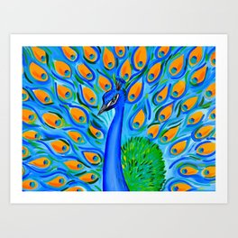 Peacock with Aqua and Turquoise Art Print