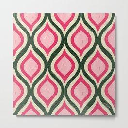 Optical Waves – Olive & Pink Metal Print