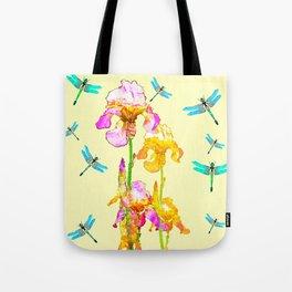 GOLDEN PURPLE IRIS & BLUE DRAGONFLIES Tote Bag