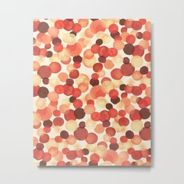 Autumn Hand-painted Watercolor Vintage Colorful  Dots, Earthy Natural Colors Pattern Metal Print