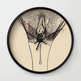 NSFW Adult artwork - Dripping, sexy girl body, naughty view of pubic hair and sweet juices, kinky Wall Clock