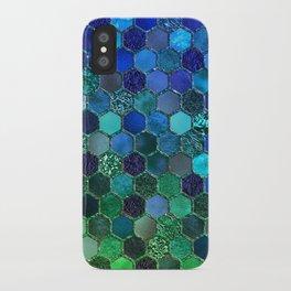 Blue & green geometric hexagonal elegant & luxury pattern iPhone Case