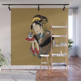 Tea Time with English Bulldog Wall Mural