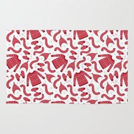 Red white snow flakes Christmas winter fashion pattern Rug