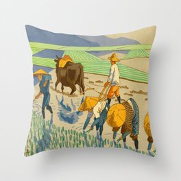 Asano Takeji Rice Transplantation Vintage Japanese Woodblock Print Asian Farmers Sedge Hat Throw Pillow