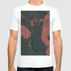 Seattle Map Red White MEDIUM Mens Fitted Tee