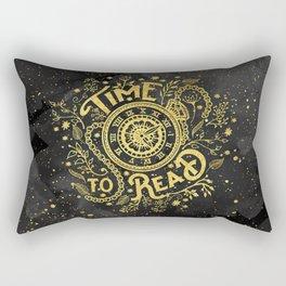Time to Read - Gold Rectangular Pillow