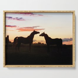 Arabian horse sunset Serving Tray