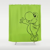yoshi Shower Curtains featuring Yoshi Minimalist by carcar2110