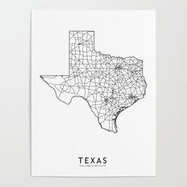 Texas White Map Poster