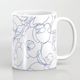 Modern navy blue white hand drawn orchid flowers Coffee Mug