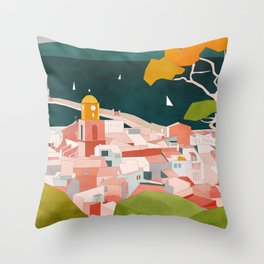 south france coast landscape Throw Pillow