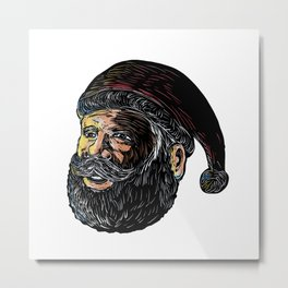 Santa Claus Three-Quarter View Scratchboard Metal Print
