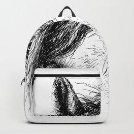 Horse animal head eyes ink drawing illustration. Mammal face portrait Backpack