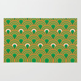 retro sixties inspired fan pattern in green and orange Rug