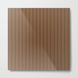 Floral Stripes on Coffee Metal Print