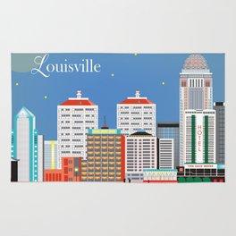 Louisville, Kentucky - Skyline Illustration by Loose Petals Rug