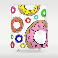 donuts Shower Curtains featuring donuts by Whatcha-McCall-it