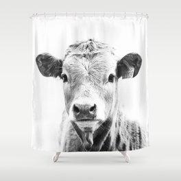 bw cow, southwest decor, farmhouse photography, rustic decor Shower Curtain