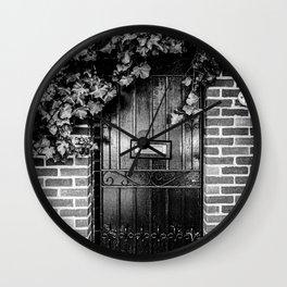 A door in London II   Black & White Photography   Street Photography   Travel Photography   Photo Print   Art Print Wall Clock
