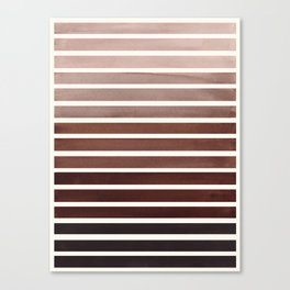 Watercolor Gouache Mid Century Modern Minimalist Colorful Raw Umber Stripes Canvas Print