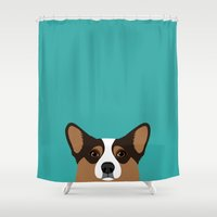 corgi Shower Curtains featuring Corgi by Anne Was Here