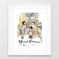 good omens Framed Art Prints featuring Good Omens water colours by Dangerpro