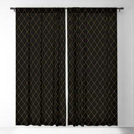 Luxury Gold Argyle - Black (Small Pattern) Blackout Curtain