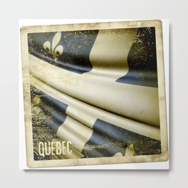 Quebec (Canada) grunge sticker flag Metal Print